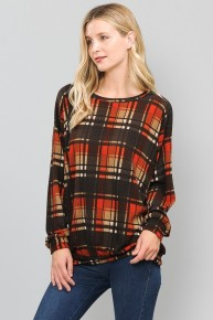 Just the Beginning Brown Plaid Bubble Sleeve Shirt Sizes 4-10