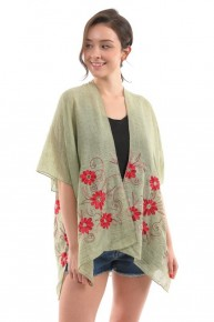 Happiness Becomes You Floral Embroidered Sage Kimono - One Size Fits Most