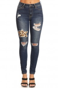 The Charlie Skinny Jeans With Leopard Patch - Sizes 0-15