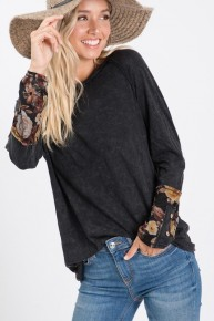 This Is Forever Gray Top With Floral Sleeve- Sizes 4-18