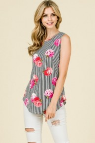 We Wont Stop Floral & Striped Tank- Sizes 4-12