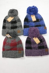 Deep Breaths Super Soft Fleece Lined Plaid CC Beanie with Pom in Multiple Colors