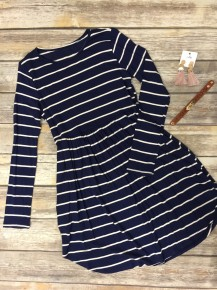Dosey Do Striped Long Sleeve Dress/Tunic In Navy - Sizes 4-20