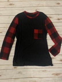 I Will Fear No More Buffalo Plaid Contrast Top With Pocket - Sizes 12-20