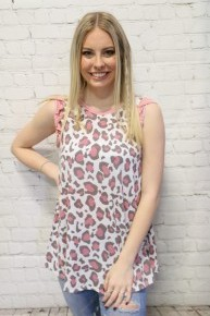 Wild Love Oatmeal Leopard with Pink Ruffle Sleeve - Sizes 4-10