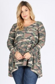 She's Right Though Camo Sharkbite Tunic - Sizes 12-20
