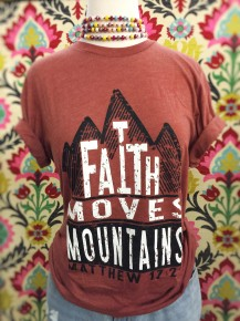 Faith Can Move Mountains Graphic Tee In Brick- Sizes 4-20