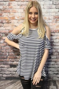 Come On Striped Cold Shoulder With Ruffle Top In Navy- Sizes 4-10