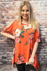 Keep Dreaming Coral Floral Split Sleeve Top with Shark Bite Hem - Sizes 4-10