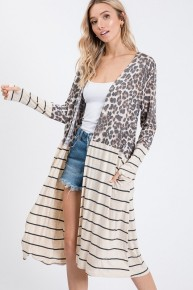 You Know My Name Leopard And Striped Duster In Oatmeal - Sizes 4-12