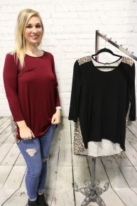 Carried Away Leopard Accented Top in Multiple Colors