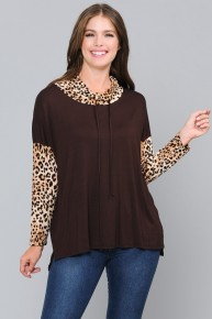 The Days Draw Near Leopard Cowl Neck Long Sleeve With Leopard In Brown - Sizes 12-20