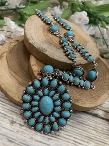 Southern Mess Turquoise Beaded Necklace