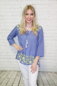 Classic Beauty Navy Quarter Sleeve Tunic with Green Floral Emrboidery- Sizes- 4-10