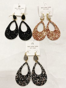 Holiday Party Teardrop w/Druzy Accent Earring
