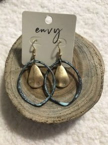 He Knows Pantina Oval with Hammered Gold Accent Tear Drop Fish Hook Back Earring