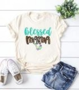 Blessed Mama Cactus Graphic Tee With Leopard Accents In Cream - Sizes 4-12