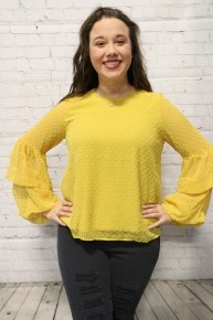 Keep On Believing Dot Patterned Long Sleeve Top In Mustard - Sizes 4-20