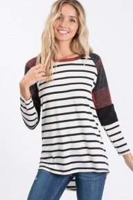Turn Back Time White Long Sleeve Striped Top with Buffalo Check and Accented Sleeve- Sizes 4-12