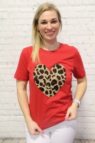 Hold Me Tight Leopard Heart Graphic Tee - Multiple Colors - 4-20