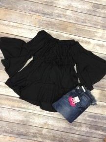 Flowy & Fun Off-The-Shoulder Top in Black - Sizes 4-20