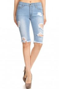 On A Roll Light Denim Distressed Bermuda Shorts With Frayed Hem- Sizes 12-20
