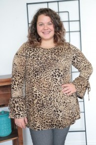 We Are Here For The Moment Leopard Tunic With Ribbon Sleeves - Sizes 12-20