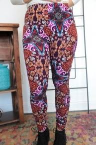 Wander Along Fun Print Leggings In Purple - Sizes-4-12