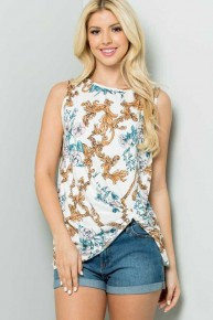 Listen To Your Heart Floral Sleeveless Top in White - Sizes 4-20