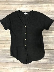 Too Comfy Waffle Button Up Top in Black - Sizes 4-10