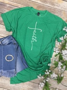 I Have Faith Graphic Tee in Green - Sizes 4-20