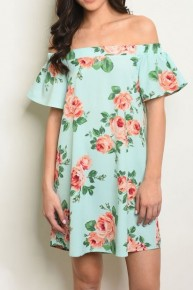 Jaw Dropping Floral Off-The-Shoulders Dress in Mint - Sizes 4-10