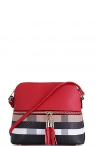 A Touch of Plaid Tasseled Crossbody in Multiple Colors