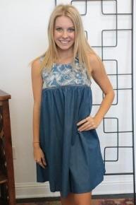 Until Now Embroidered Denim Sleeveless Dress - Sizes 4-10