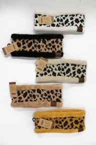 CC Super Soft Sherpa Lined Leopard Ear Warmers in Multiple Colors