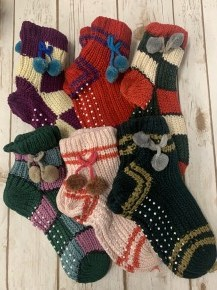 My Sweetest Friend Slipper Socks With Ball Tie Accents - Multiple Colors