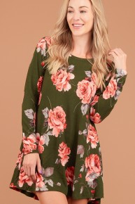 All For You Floral Long Sleeve Dress In Olive - Sizes 12-20
