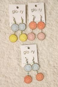 Daydream Pastel Crochet Medallion Earrings In Multiple Colors
