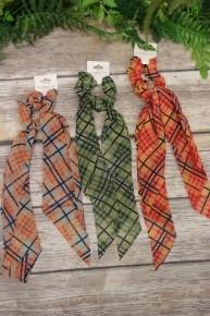 Beautiful Lady Plaid Scrunchie Hair Ties In Multiple Colors