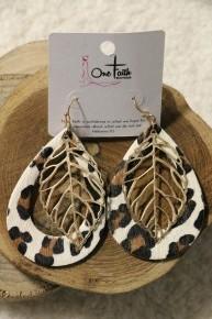 On My Own Time Leopard Teardrop Earrings With Leaf Detail
