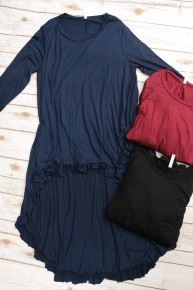 My Heart Will Go On High-Low Tunic with Ruffled Hem in Multiple Colors Sizes 12-20