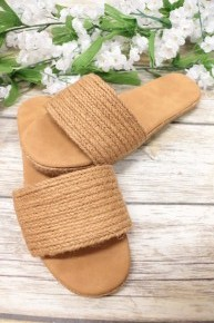 A Walk On The Beach Woven Sandals in Tan