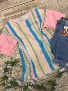 Adoring You Colorful Striped Top in Pink - Sizes 12-20
