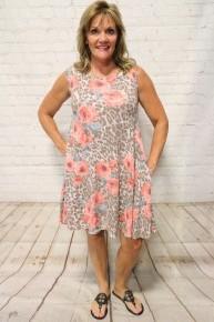 Leopard & Roses Sleeveless Dress - Sizes 4-20