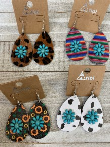 Leather Teardrop Earring with Turquoise Charm - Multiple Colors