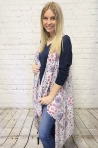 Pledging My Love Circle Print Kimono Vest in Multiple Colors - One Size Fits Most