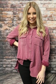 This Is Me Button Up Top In Plum- Sizes 4-10