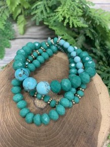 Time Will Tell Beaded 3 Piece Bracelet In Aqua