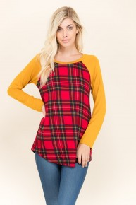 I Guess I Should Go Plaid Contrast Top In Mustard - Size 4-10