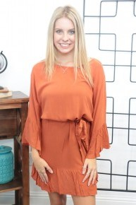 Gameday Ready Dress With Tie In Burnt Orange